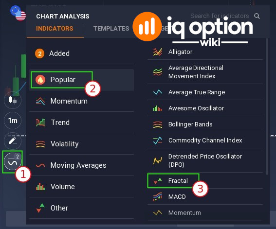 How to attach Fractal indicator on IQ Option