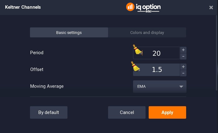 Changing Keltner Channels settings on IQ Option