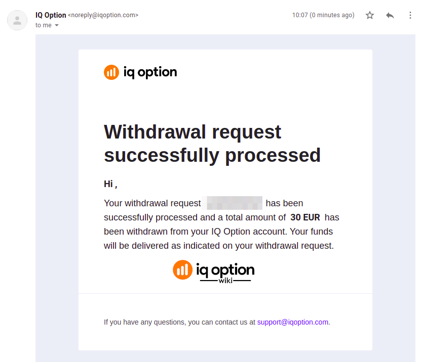 An email confirming second withdrawal