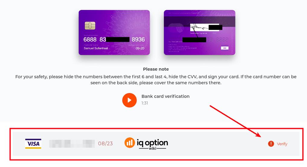 Choosing card to verify