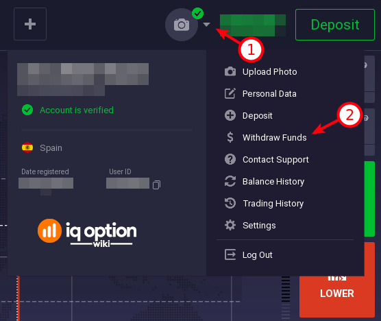 How to access withdraval section from IQ Option platform