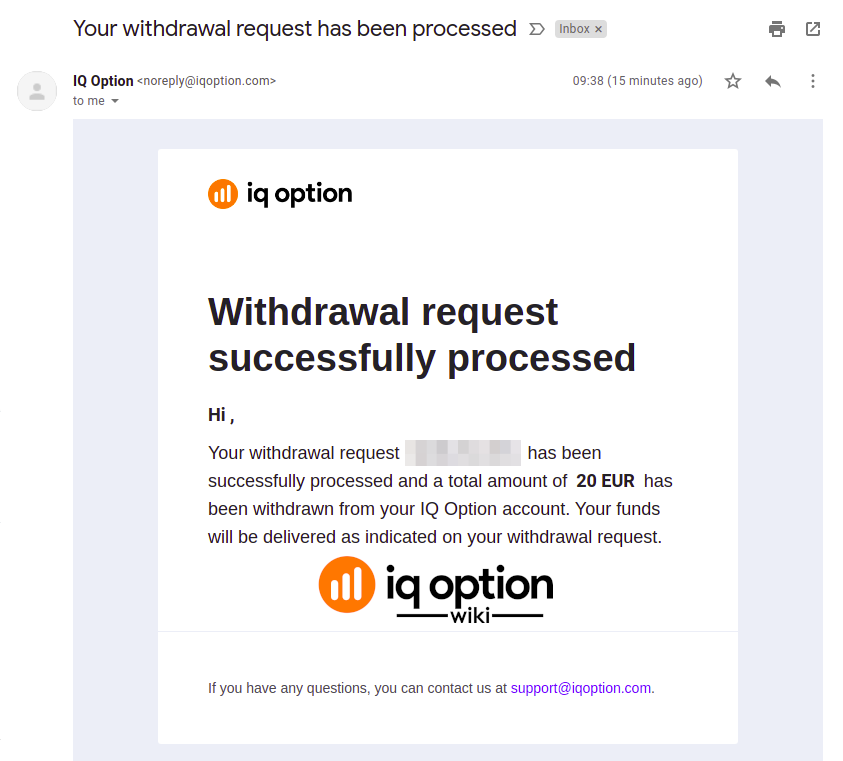 Withdrawal request confirmation email