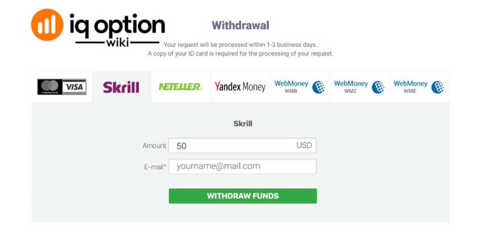 Withdrawal with other payment method